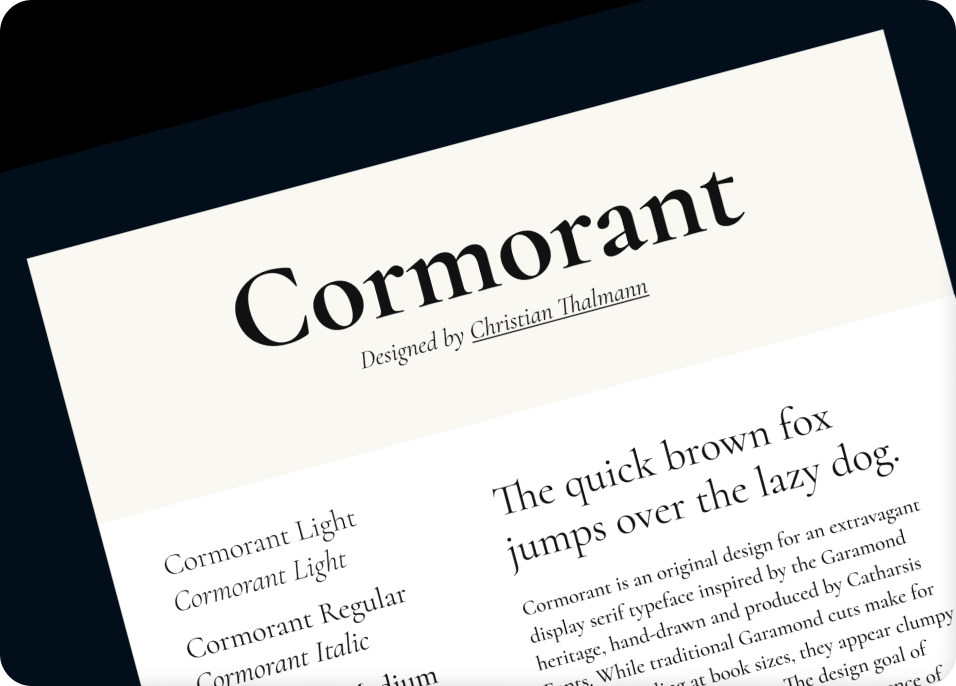 Cormorant font used in various situations.