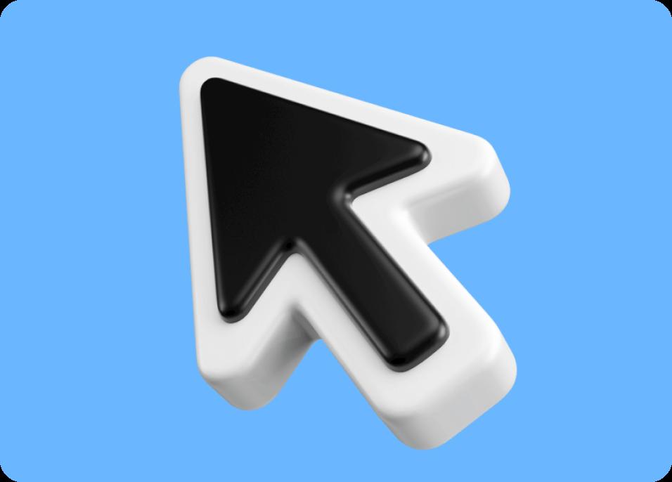 Large 3D cursor on blue background.