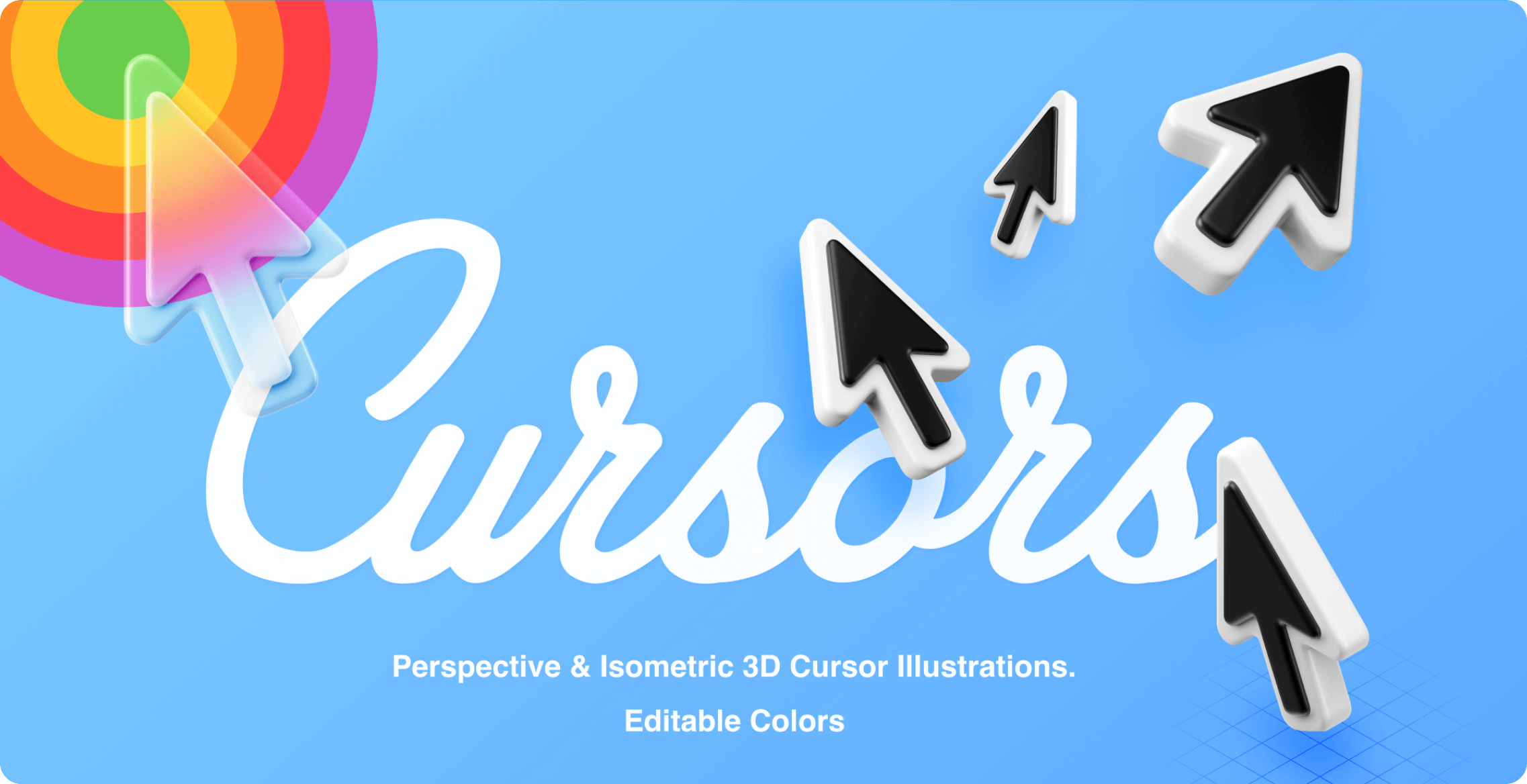 Selection of large 3D cursors for Figma.