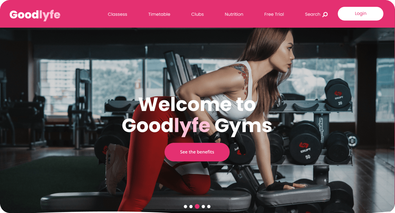 Homepage of a Gym landing page UI design.
