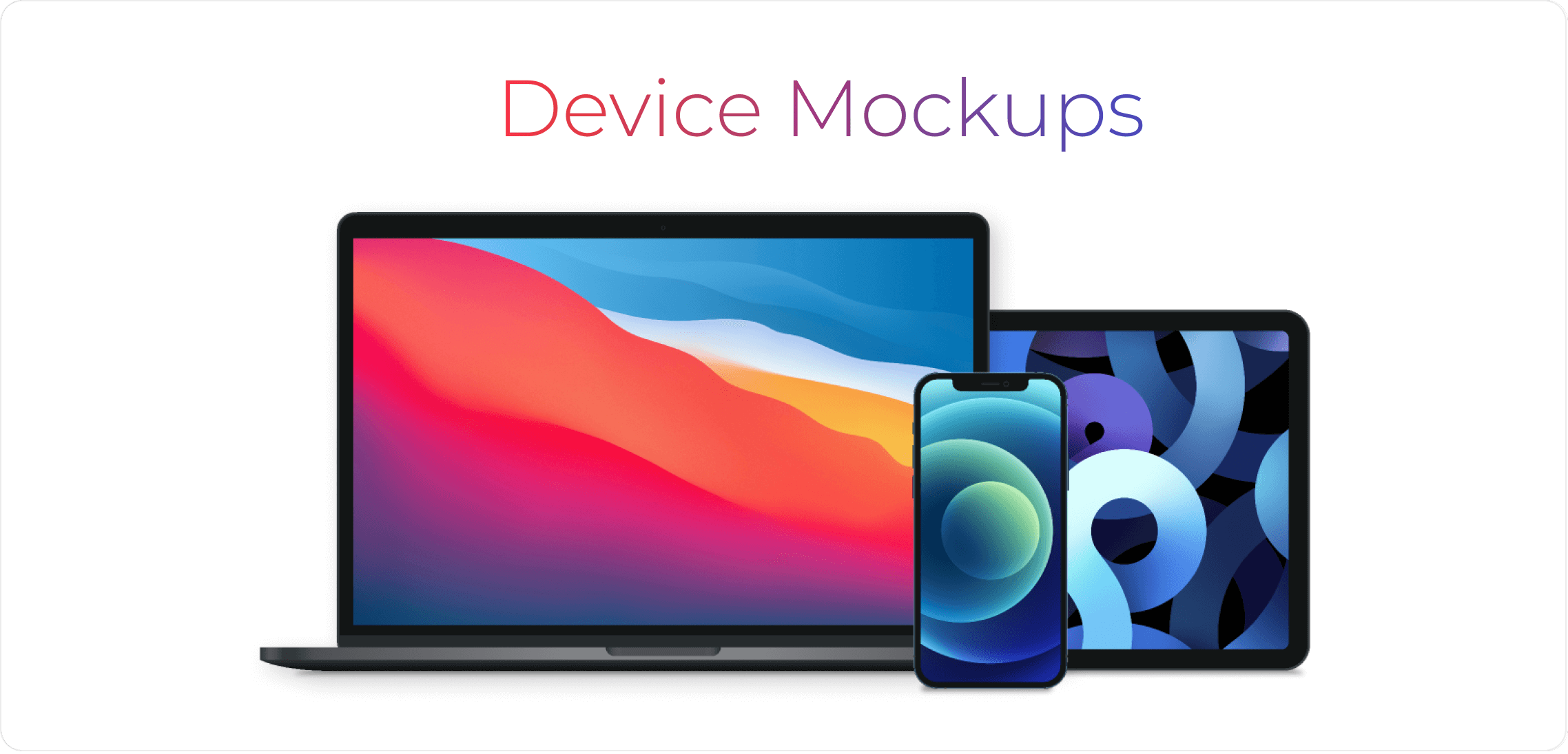 Device mockups of a mobile phone, tablet and laptop.