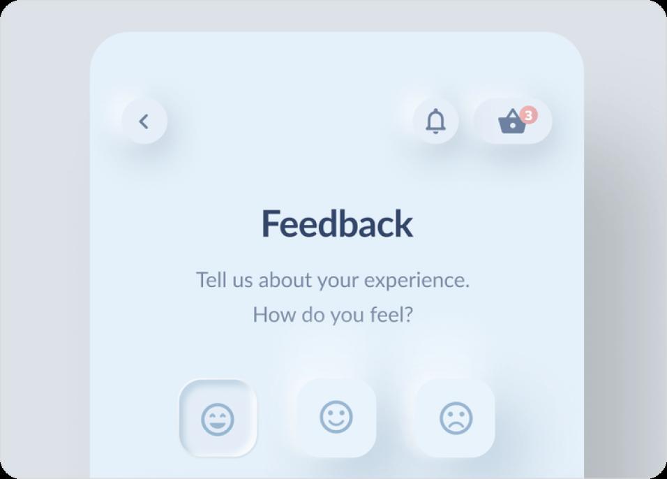 Mobile app screen containing Neumorphic design user interface.