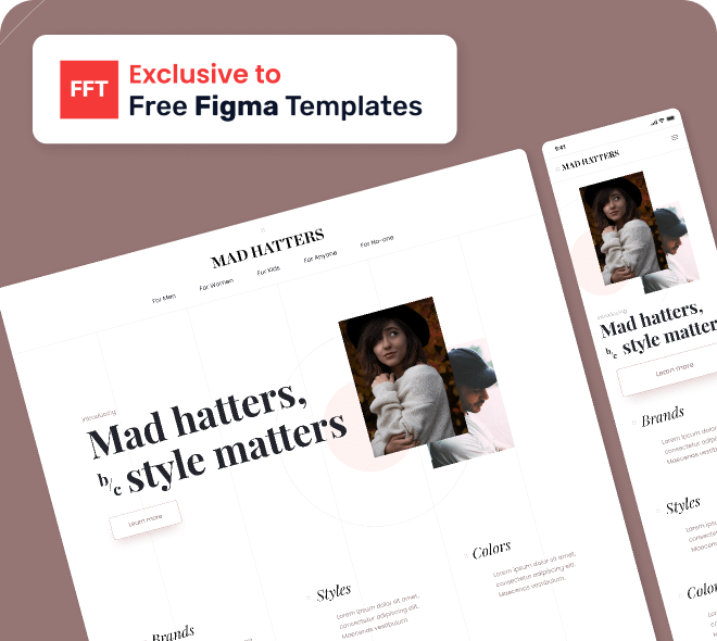 Design examples of the Mad Hatters free Figma template.