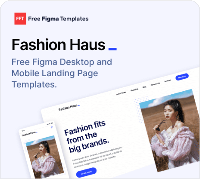 Fashion template examples free on Figma.