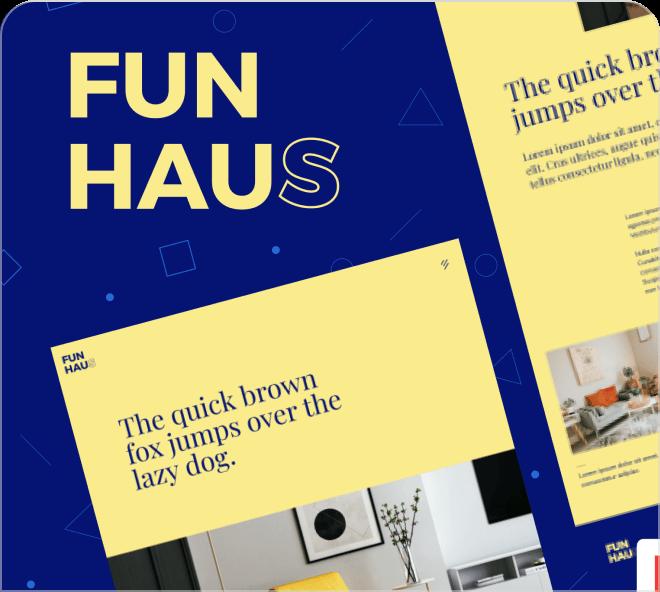 Fun Haus sample webdesigns.