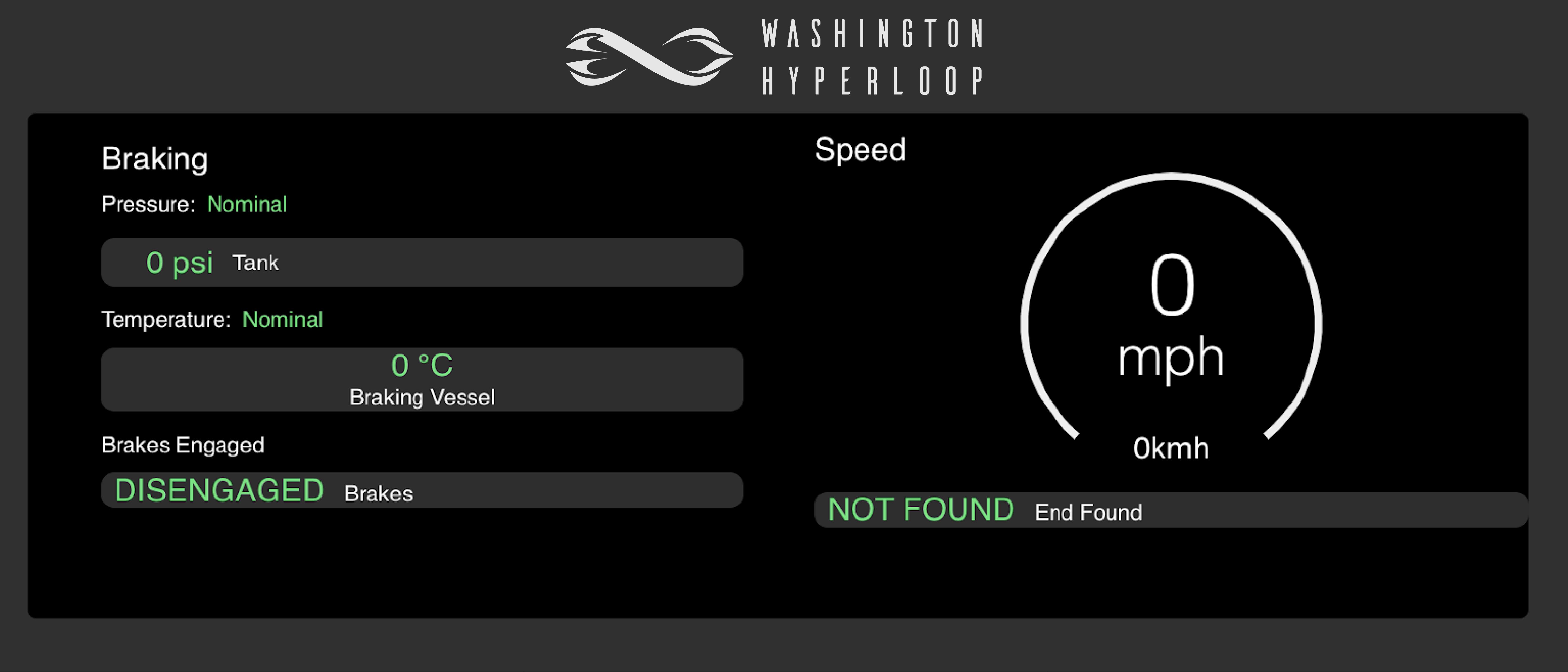 screenshot of the control software