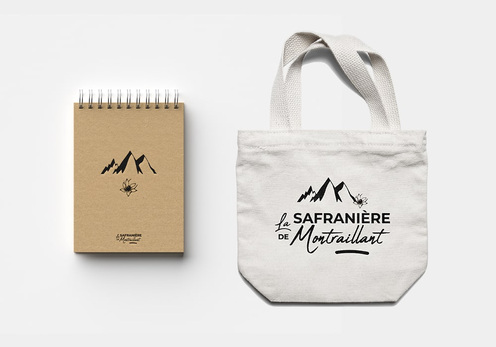 Naöms la safranière de Montraillant logo illustrations packaging safran filaments Savoie