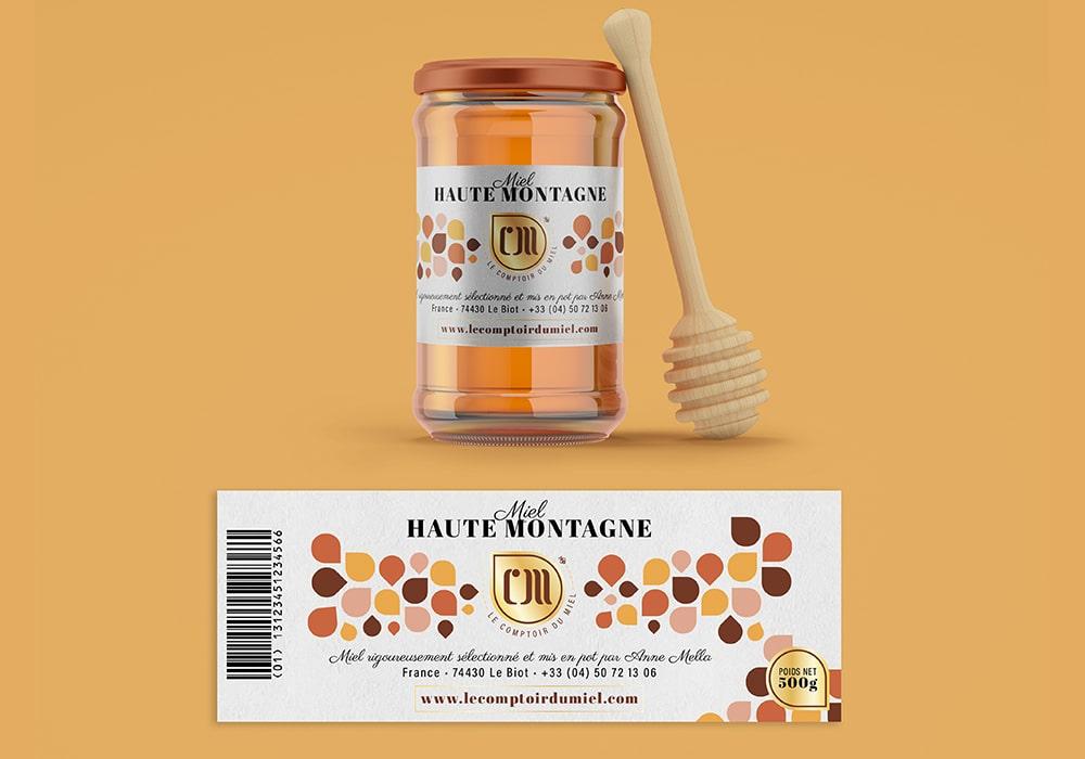 Naöms communication albertville le comptoir du miel morzine abeille logo identité visuelle charte graphique étiquette pot