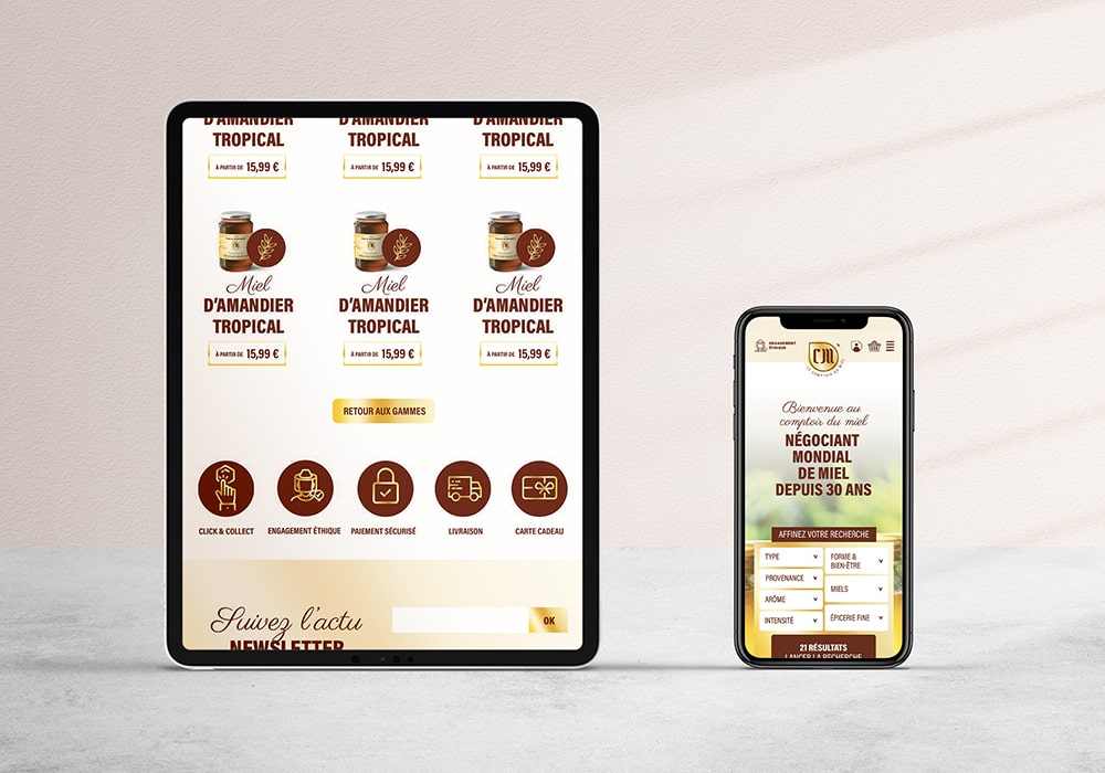 Naöms communication albertville le comptoir du miel morzine abeille logo identité visuelle charte graphique étiquette pot webdesign ui site web