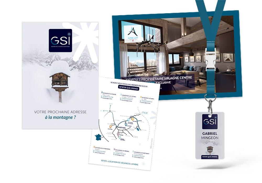 Naöms GSI immobilier logotype logo flyer dépliant brochure communication stations alpes flocon neige goodies badge