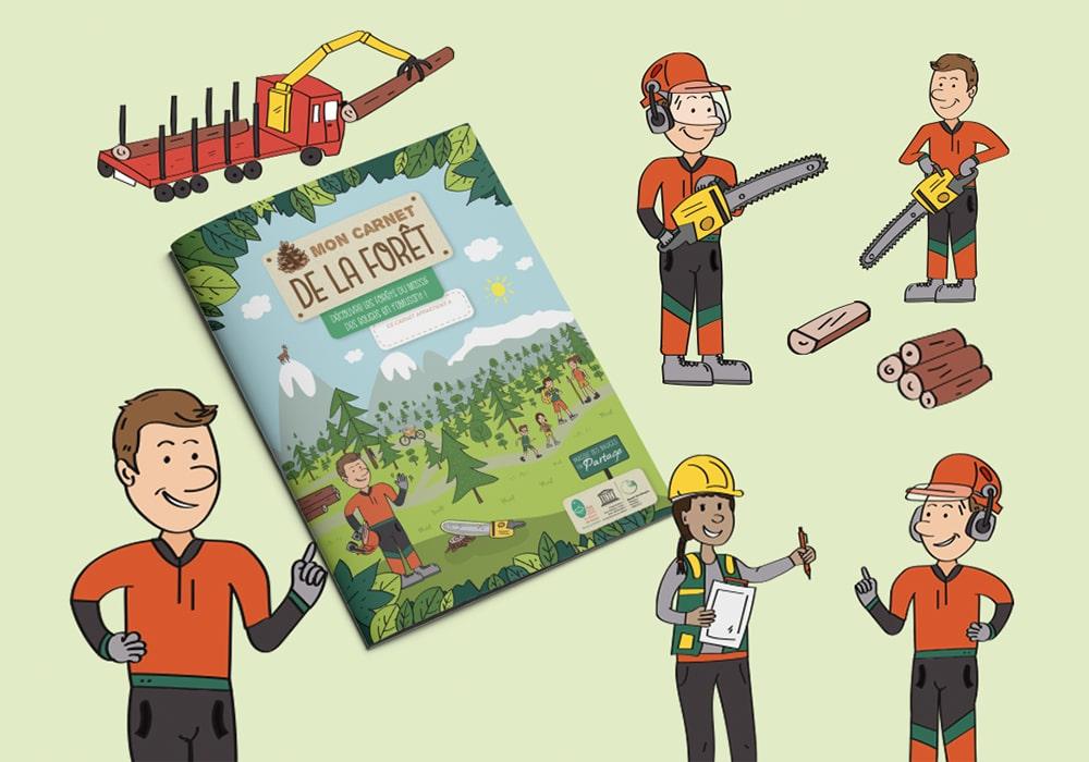 Naöms édition jeunesse illustrations parc des bauges forêt bûcheron