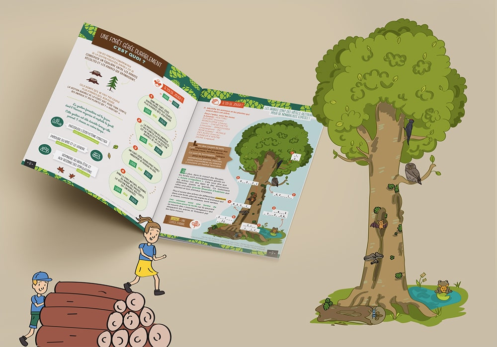 Naöms édition jeunesse illustrations parc des bauges tronçonneuse bûcheron forêt