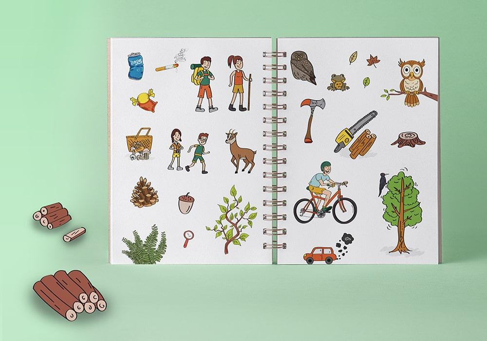 Naöms édition jeunesse illustrations parc des bauges forêts animaux