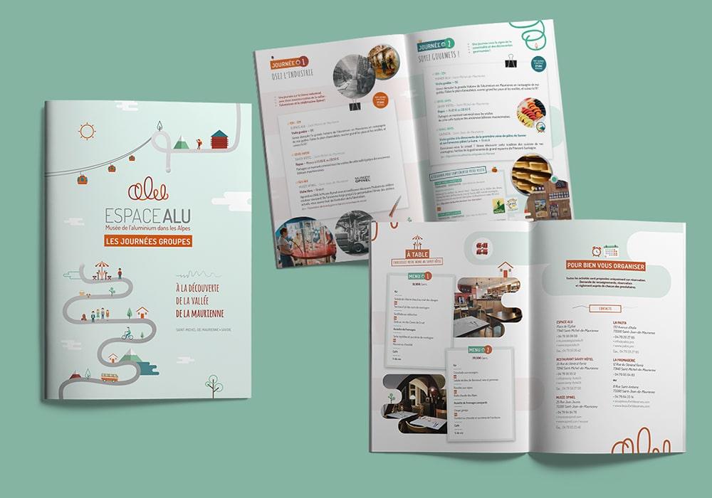 Naöms communication albertville espace alu musée de l'aluminium dans les alpes logo identité visuelle brochure flyer