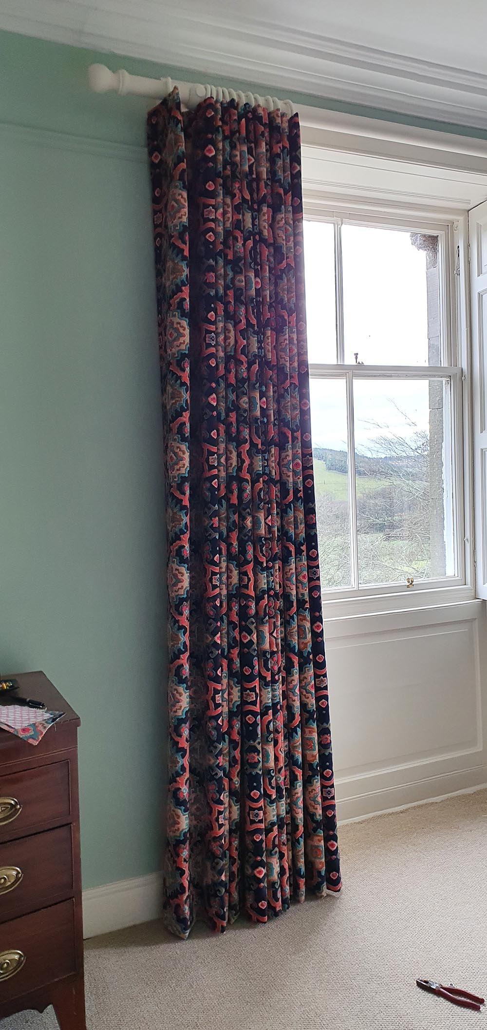 Printed velvet curtains