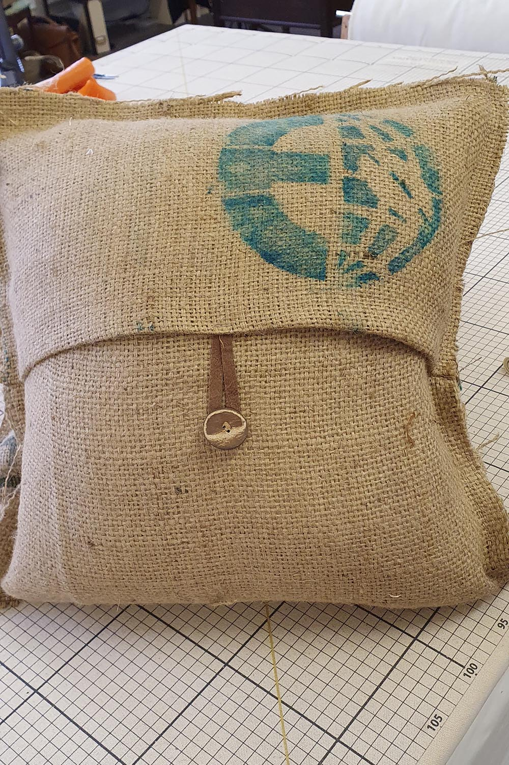 Repurposed coffee sacks