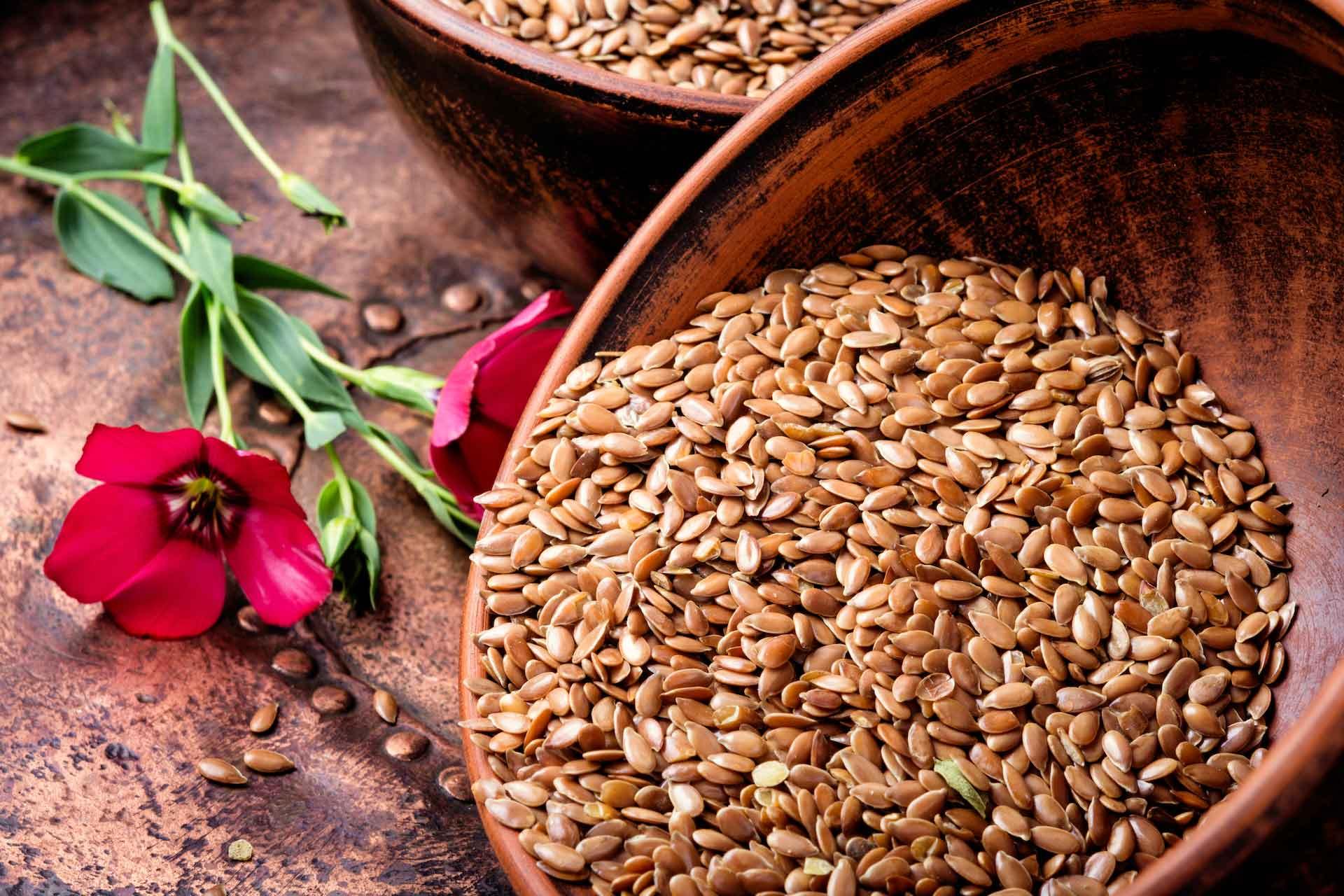 Lanene sjemenke u glinenoj posudi i cvijet lana