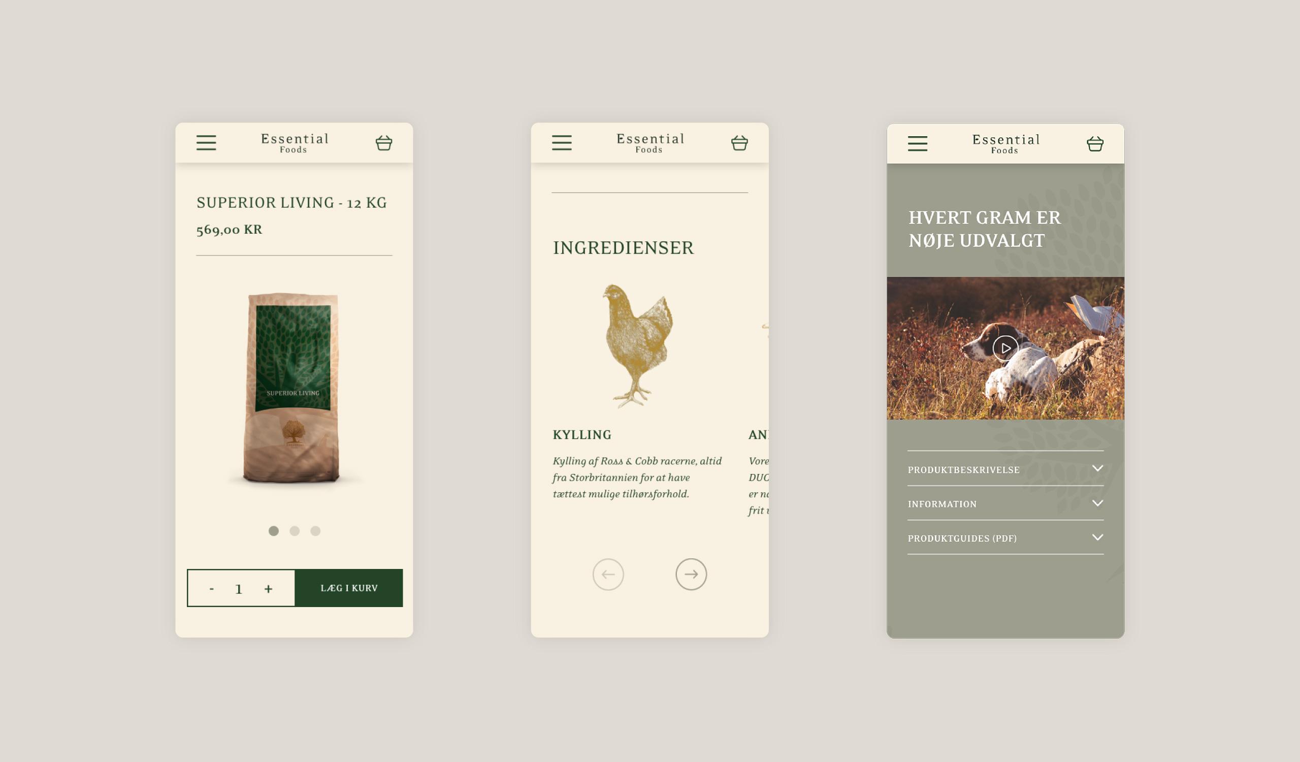 Mobile webshop selling dog food