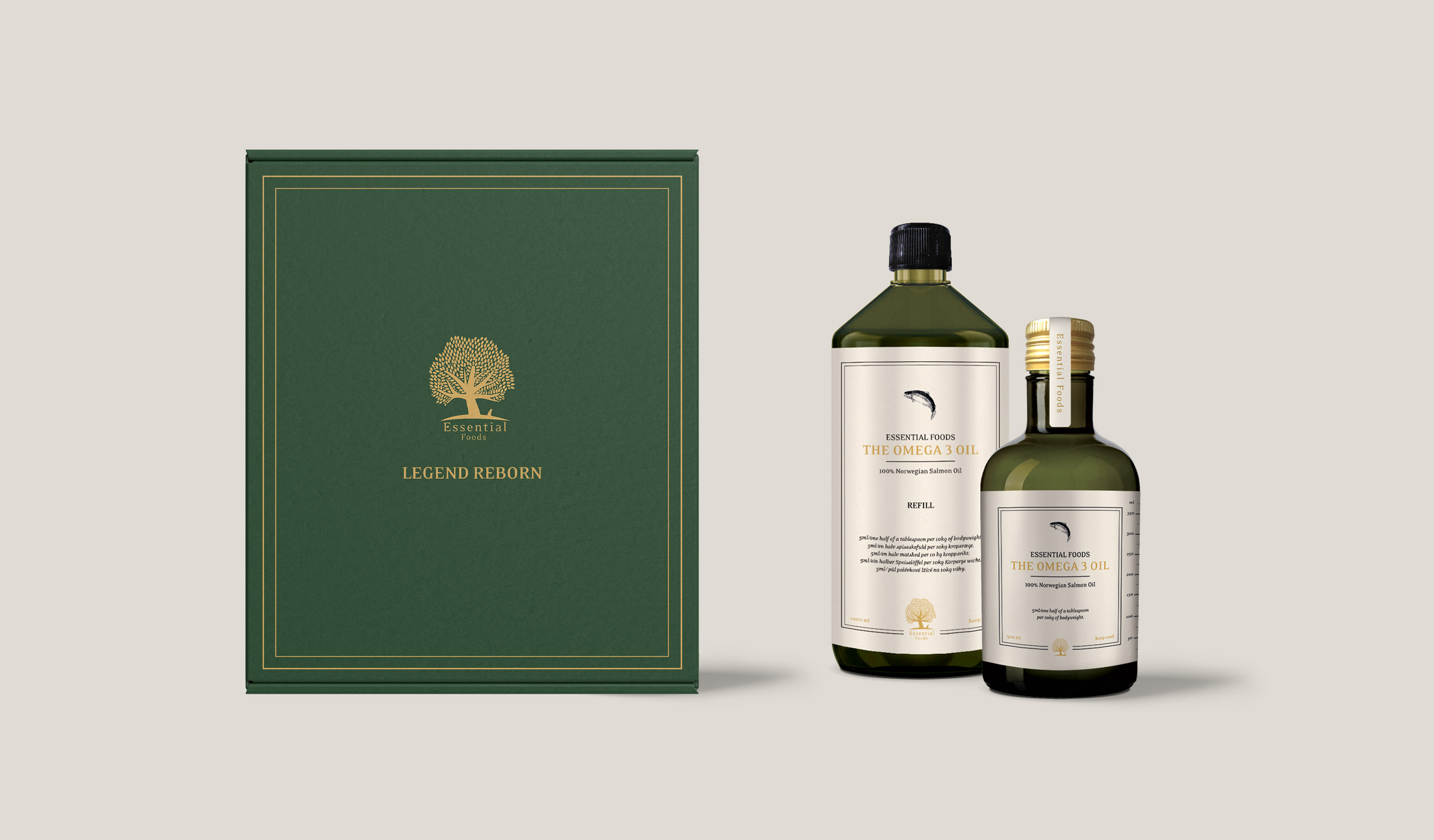 Cardboard box and omega 3 oil