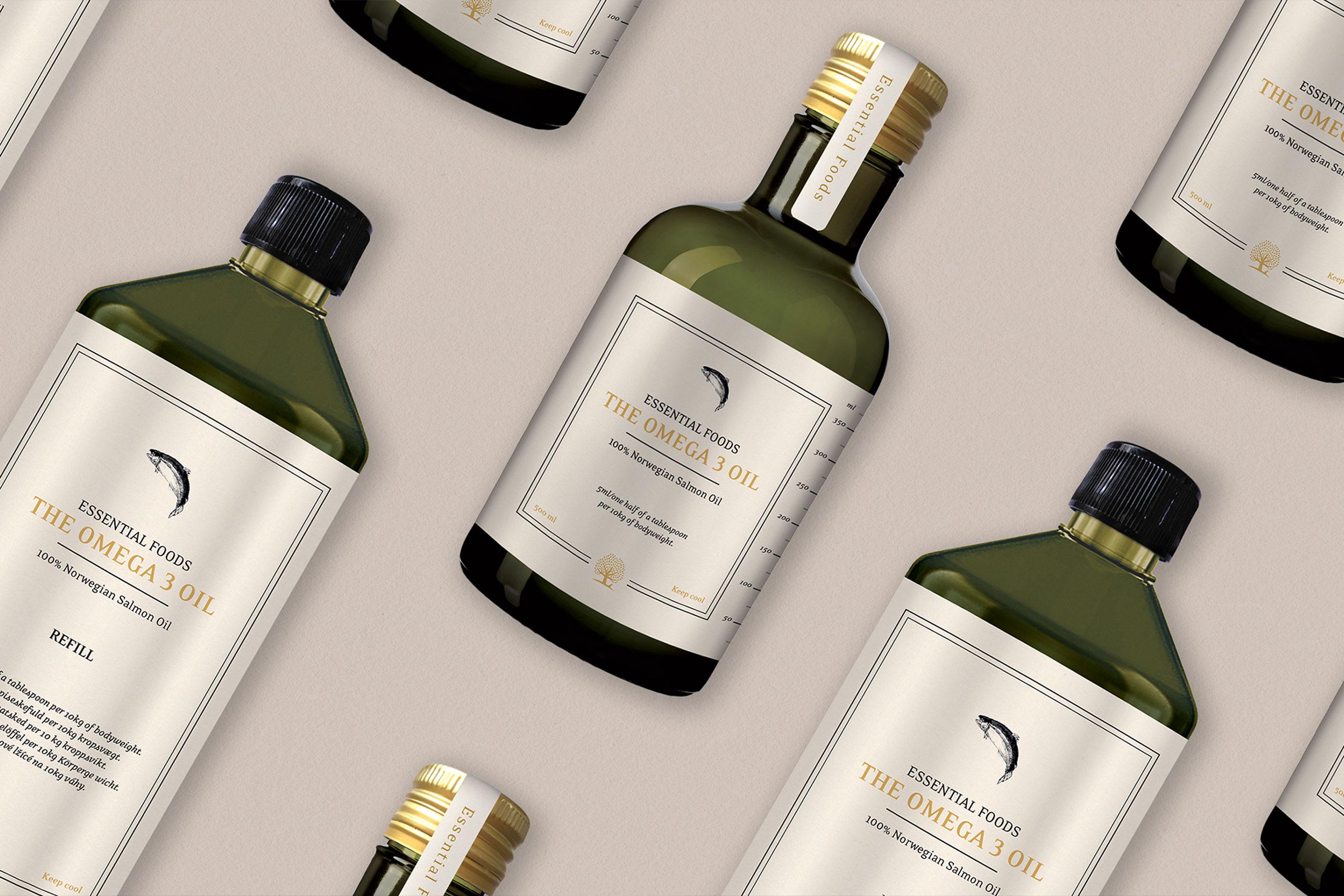 Green oil bottles with Omega 3