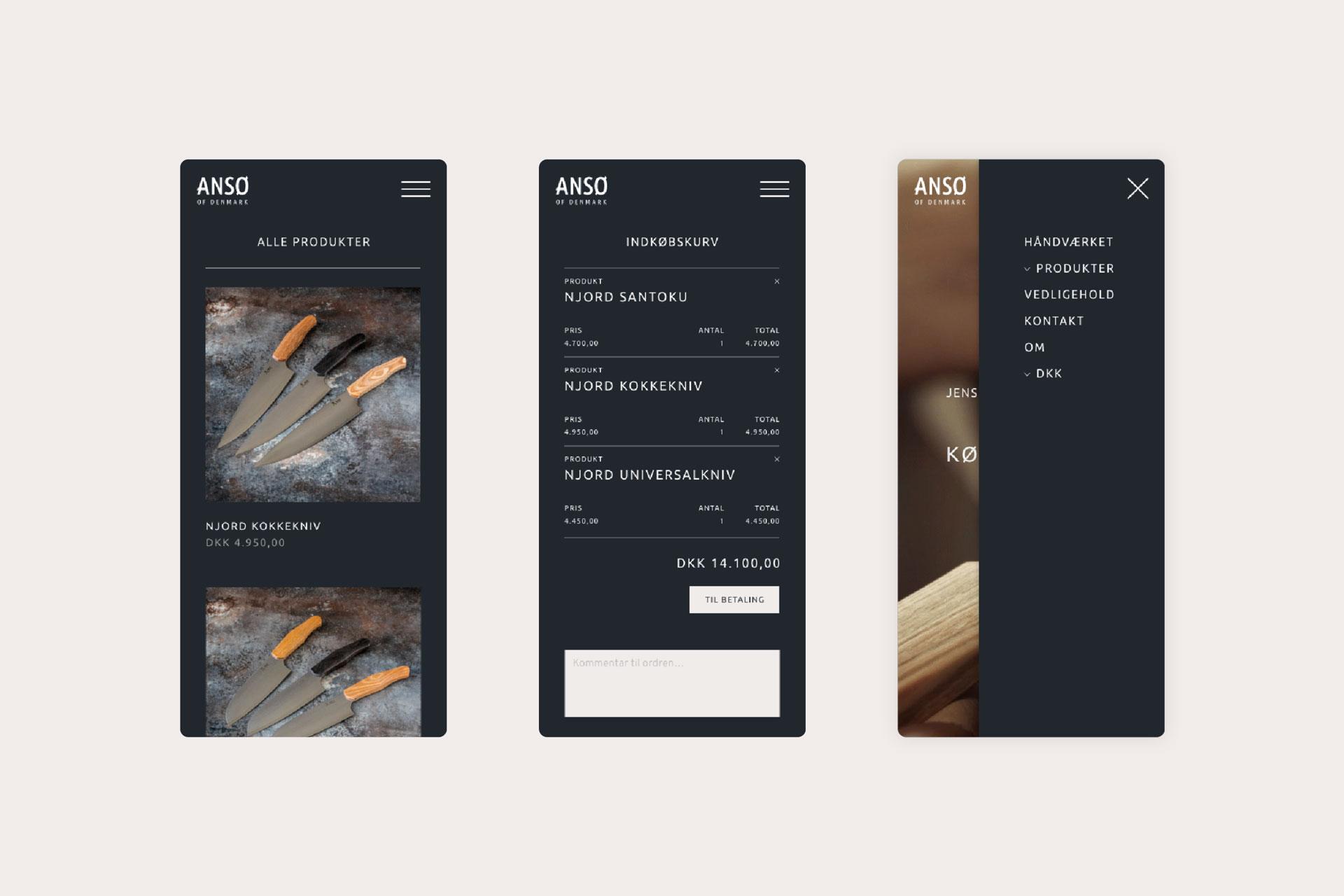Webshop on mobile selling kitchen knives