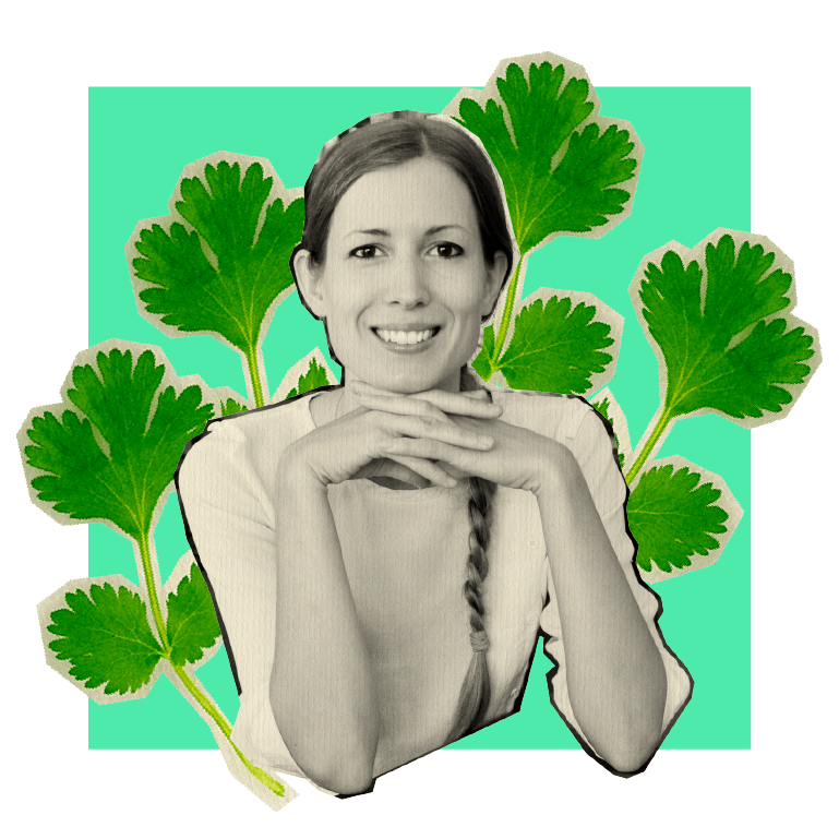 Woman with cilantro background