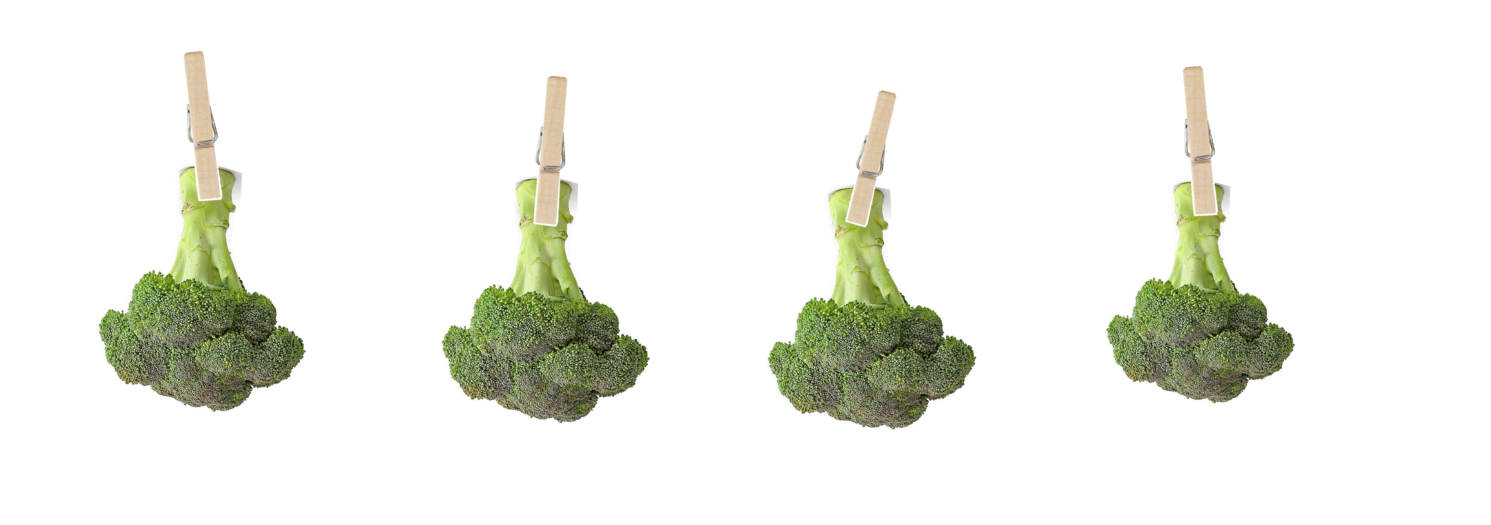 Broccoli hanging on a drying line