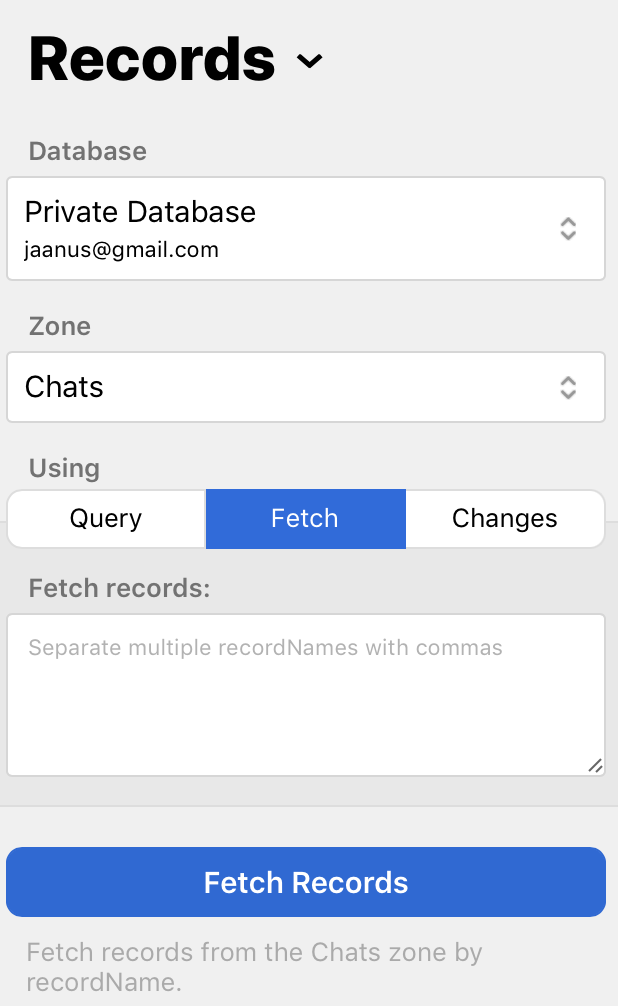Fetch-based record retrieving in CloudKit web dashboard