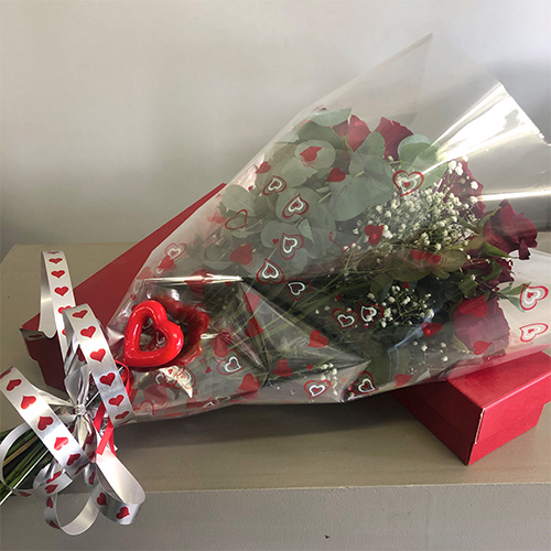 Red Roses & greenery Heart wrapped CelloBunch with Heart detail