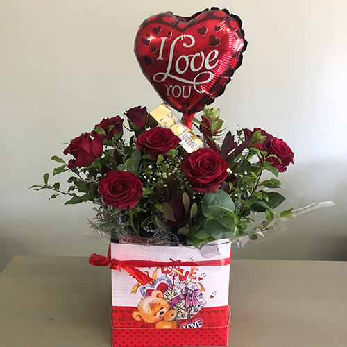 Teddy Love Box with Red Roses, Ferrero Rocher Chocolates and Balloon