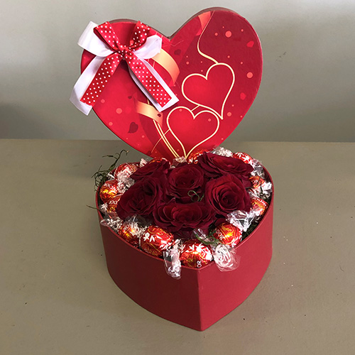 Heart Box filled with Red Roses and 12 Ferrero Rocher Chocolates