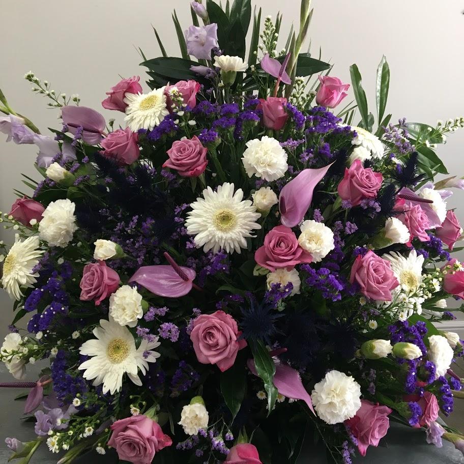 Church arrangement season white and purple