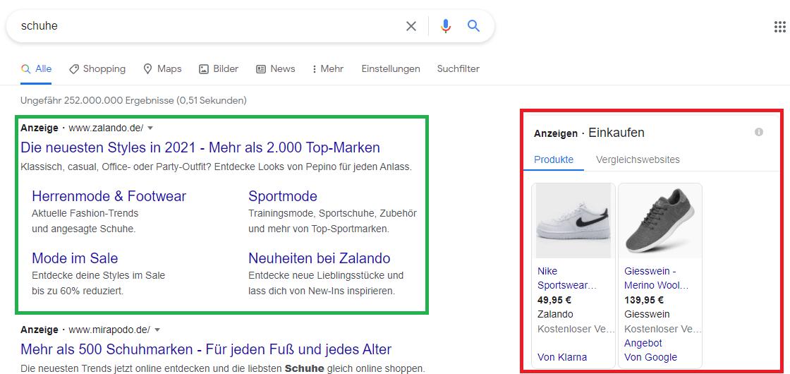 Suchmaschinenwerbung Onlineshop