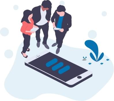 Partner stehen um Handy
