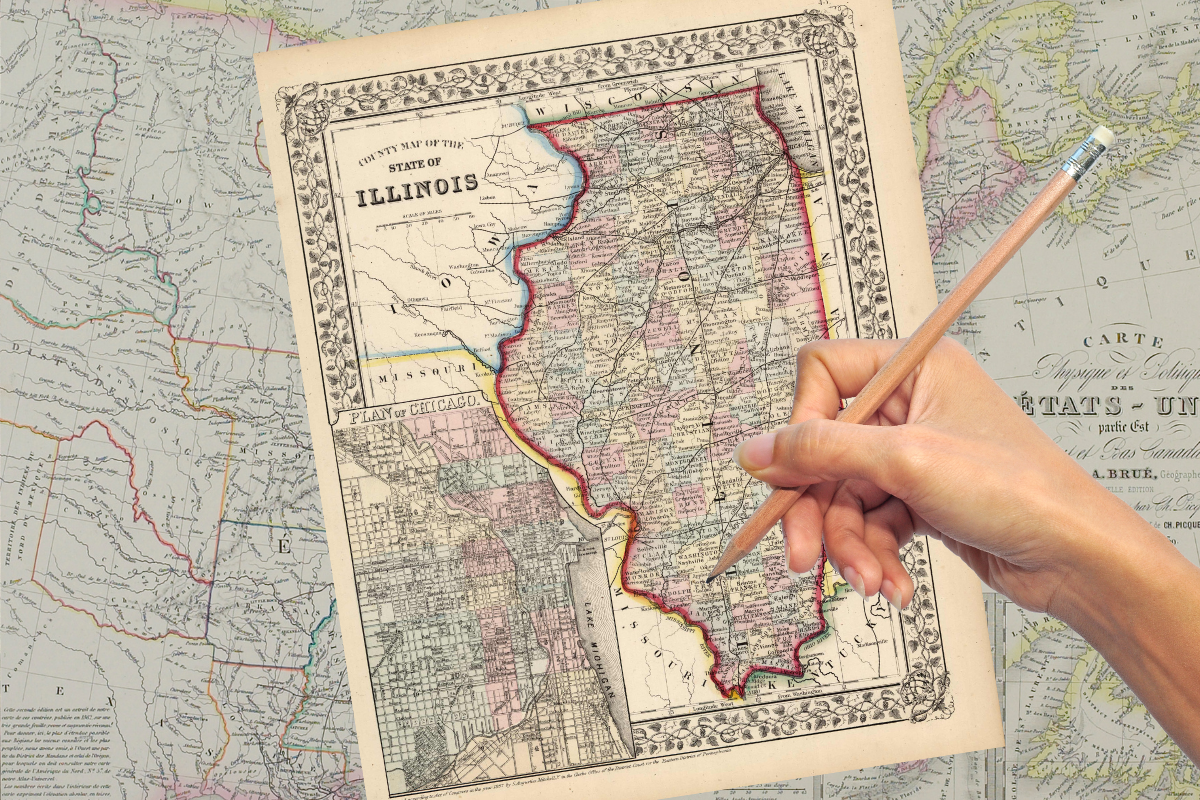 A hand holding a pencil above a map of Illinois.