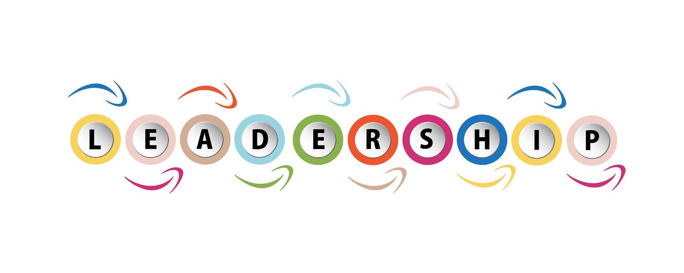 A playful and colorful graphic spelling out the word: leadership.