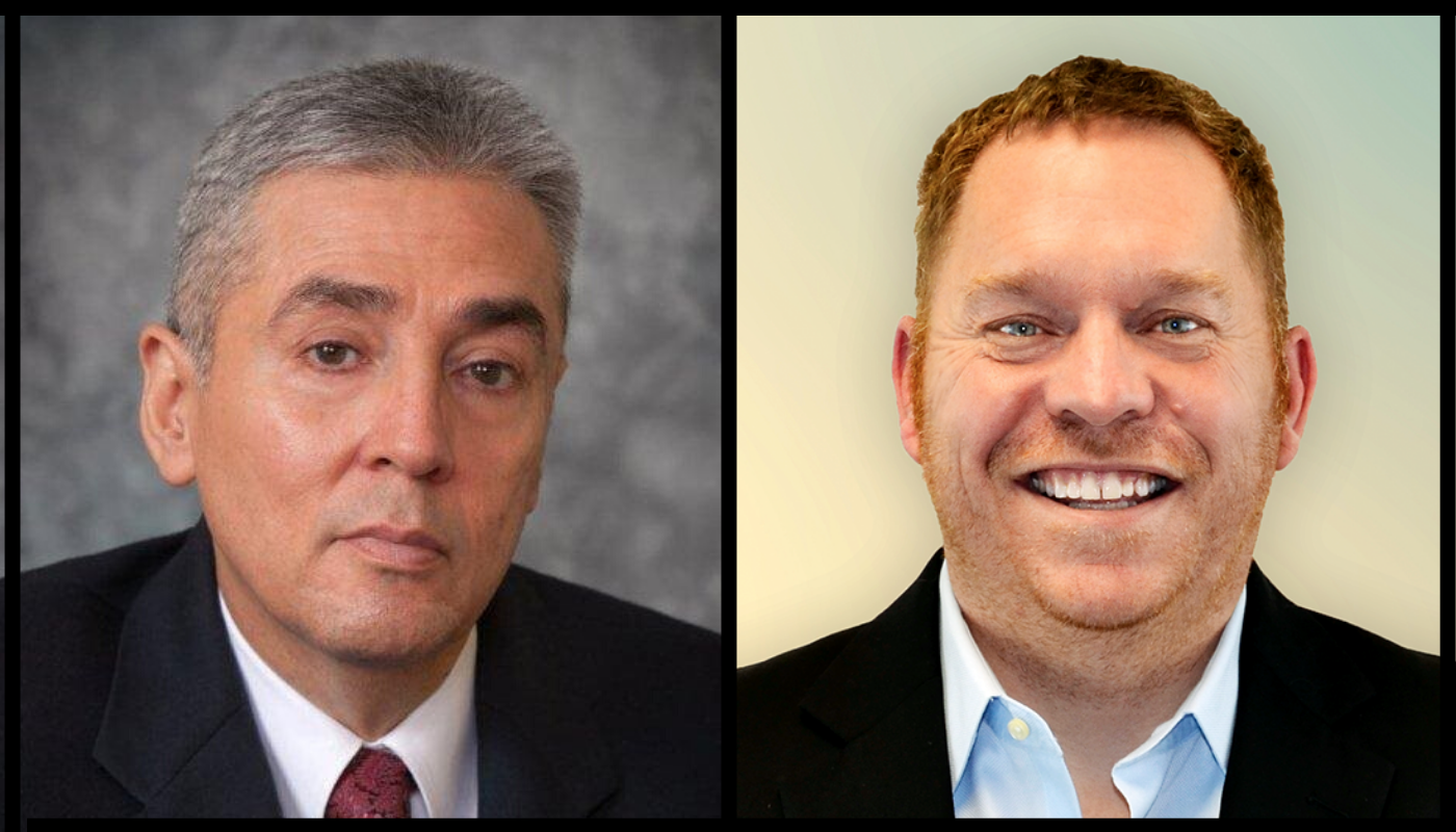 Side by side headshots of Andrés Gallegos and John Tuhey. Both are wearing suits and smiling.