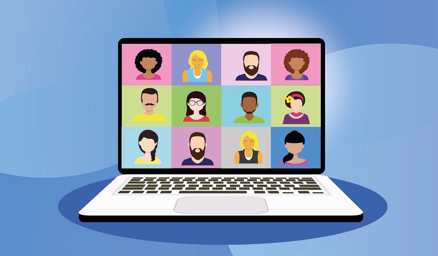 A colorful illustration of a laptop featuring 12 illustrated people in a grid participating in a video conference.
