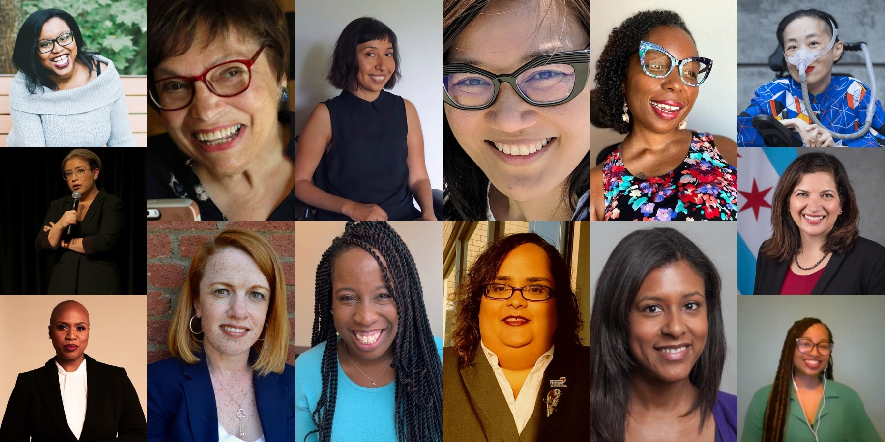 A collage of 14 photos of women of various ages and races and disability.
