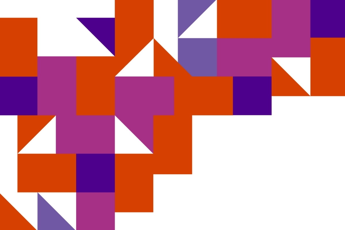 The Disability Lead disruption graphic, made up of a chaotic array or orange, pink, and purple squares, triangles and rectangles.