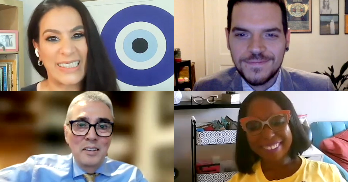Grid of four screen shots of smiling individuals from Zoom video conference. Clockwise: Maysoon Zayid, Dom Kelly, Andres Gallegos, and Andraea LaVant.