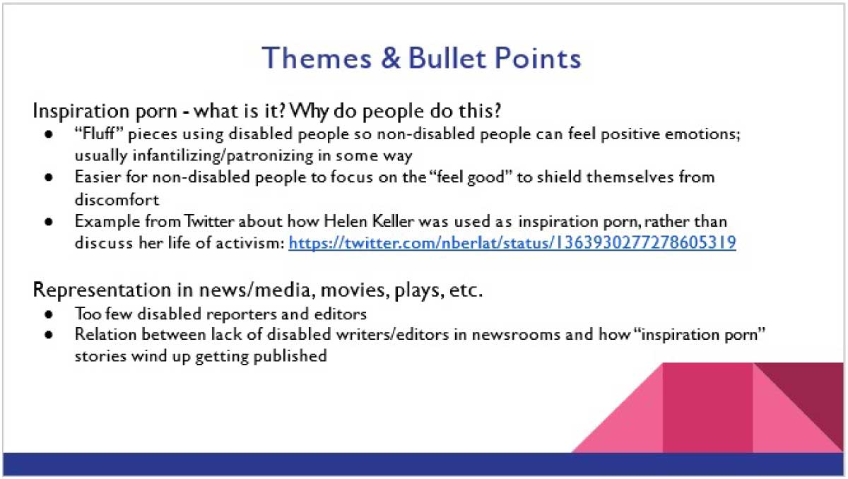Screenshot of powerpoint slide with white background, black text, and blue and pink accents.
