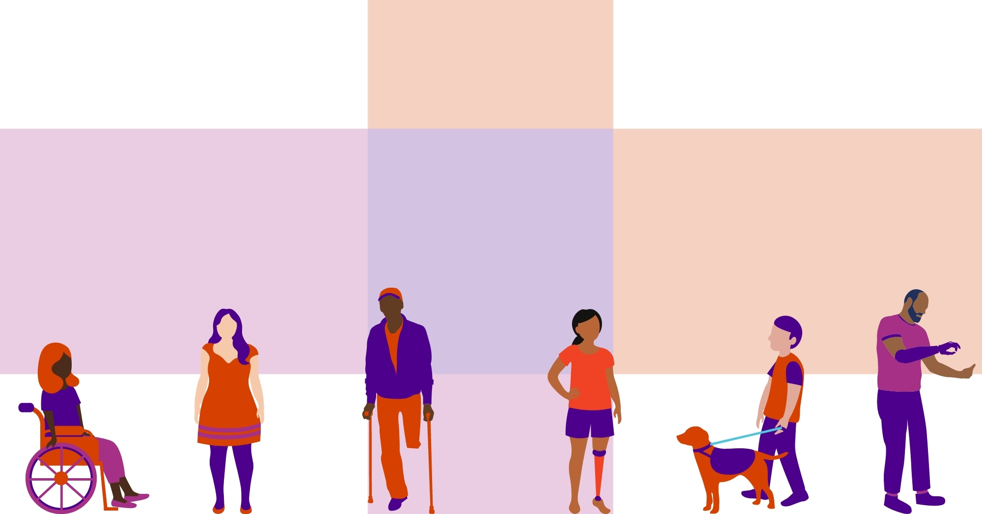 Six illustrations of people in various skin tones, all wearing variations of pink, orange, and purple. There's person in a wheelchair, a person in a dress, a person using two canes with an amputated leg, a person with a prosthetic leg, a person walking a guide dog, a person with a prosthetic arm.
