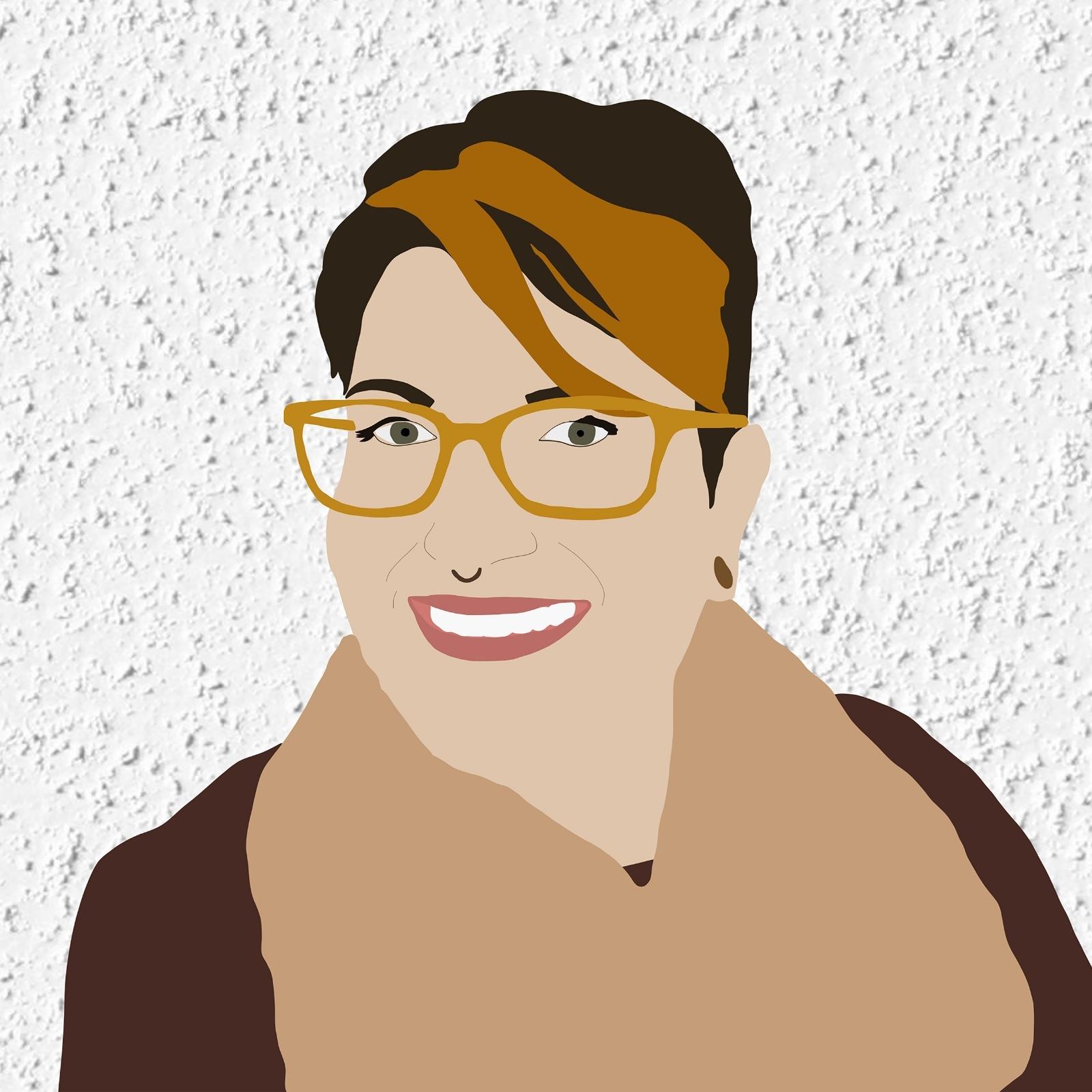 Digital illustration of Amanda smiling against a white stucco background.