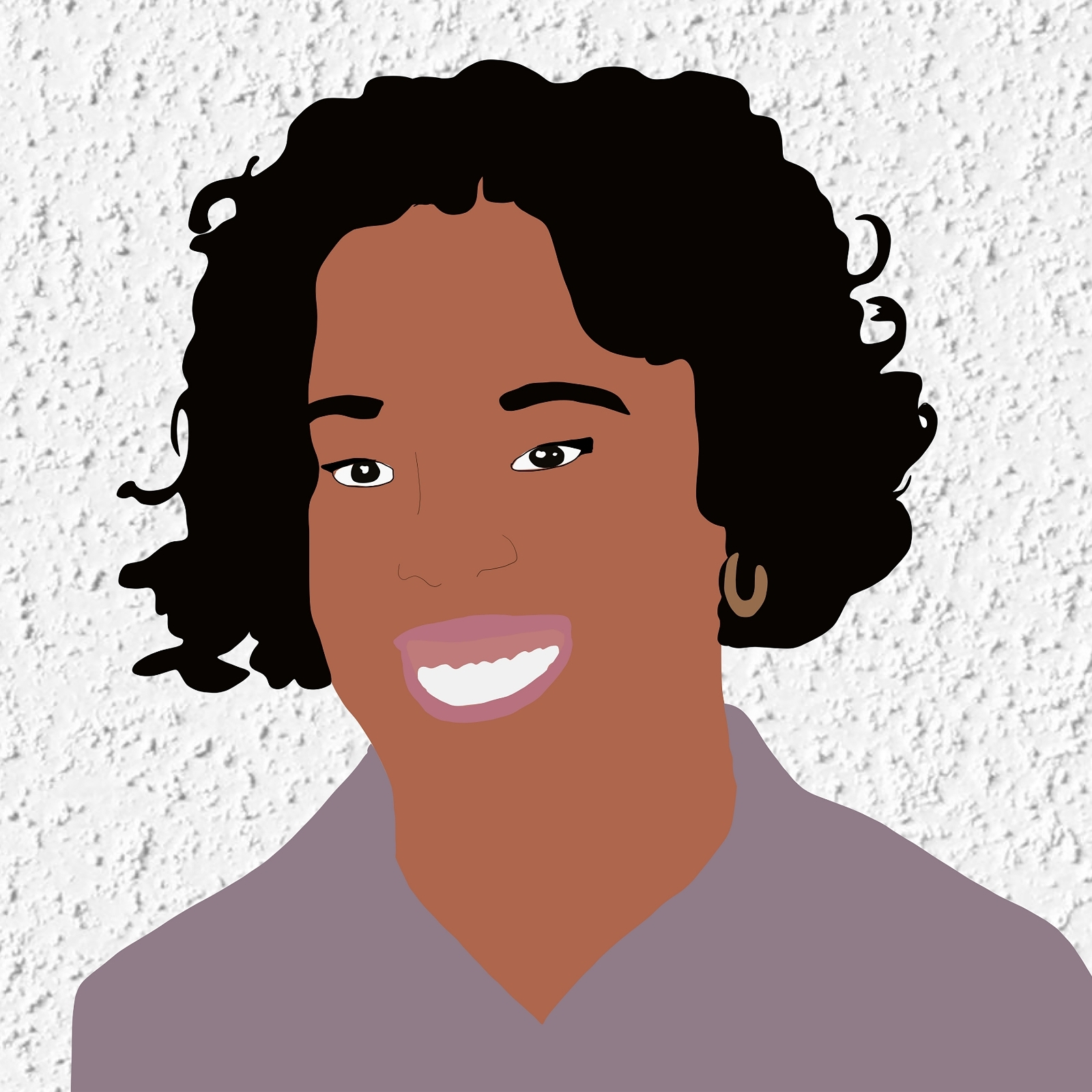 Digital illustration of Brianna smiling against a white stucco background.