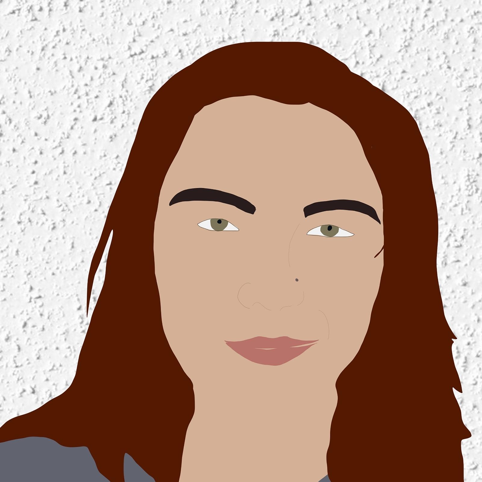 Digital illustration of Daniella smiling against a white stucco background.