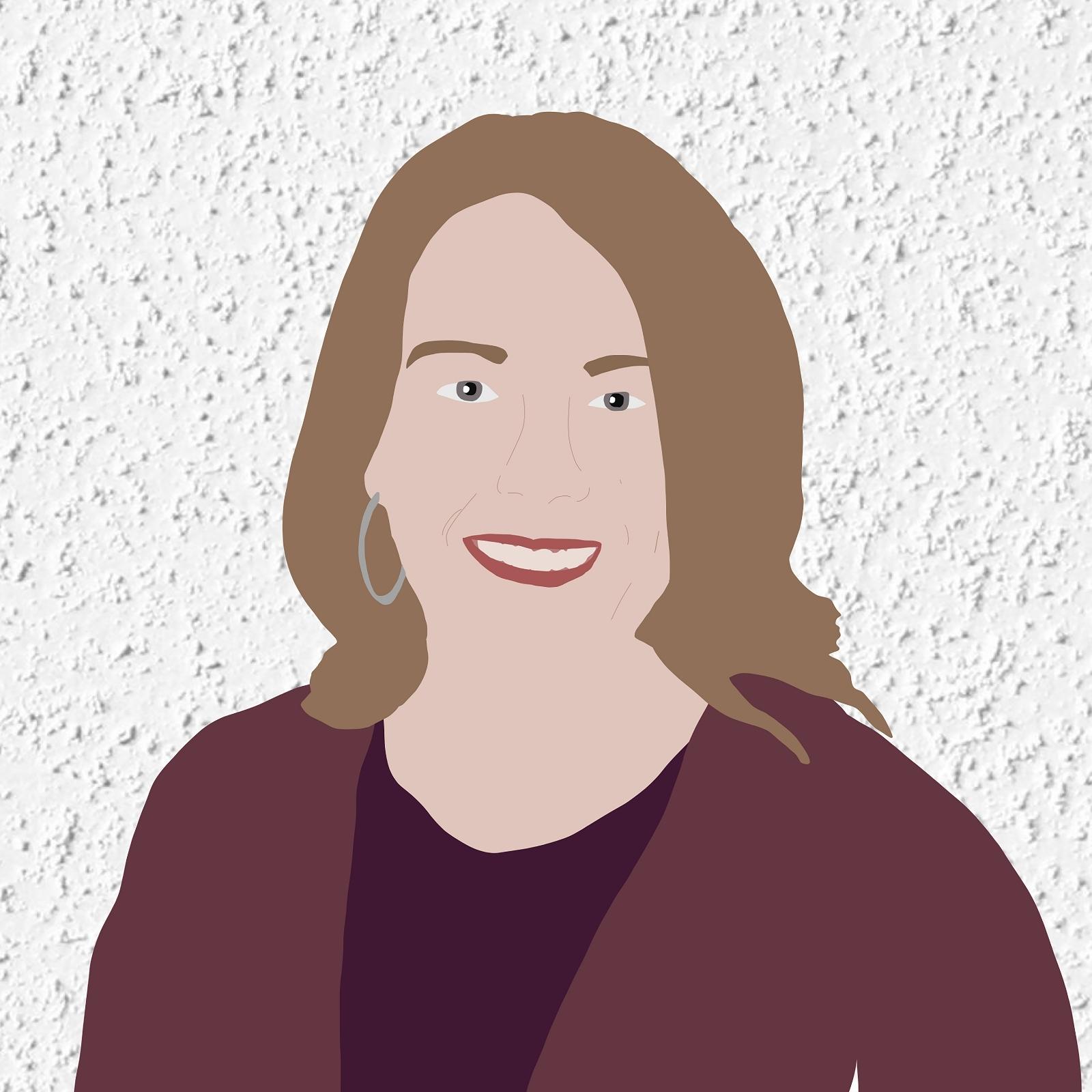 Digital illustration of Ericca smiling against a white stucco background.