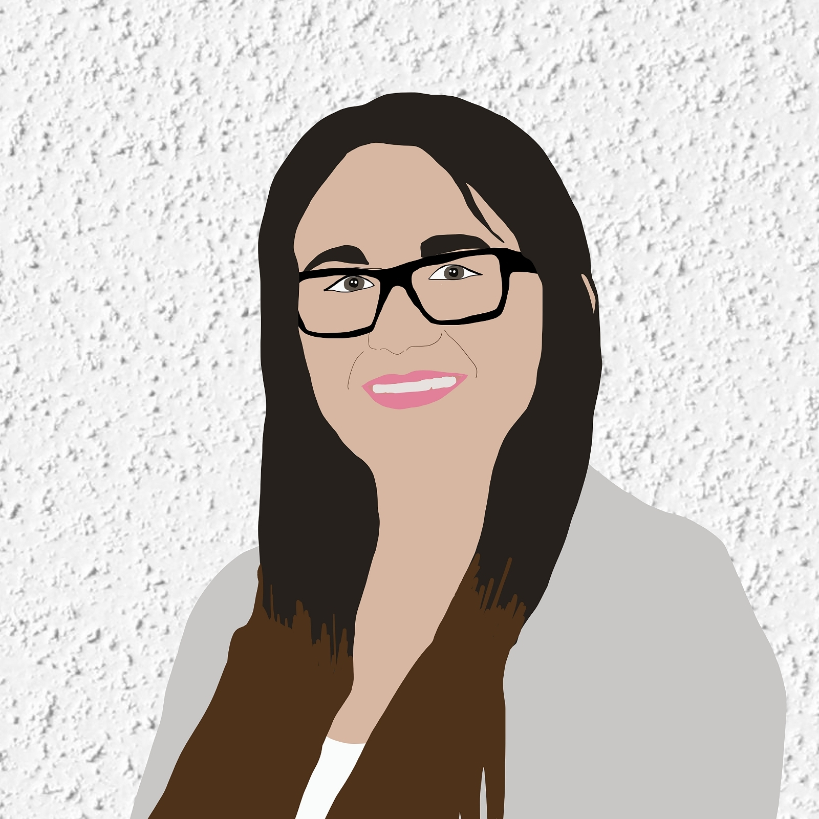 Digital illustration of Kirstin smiling against a white stucco background.