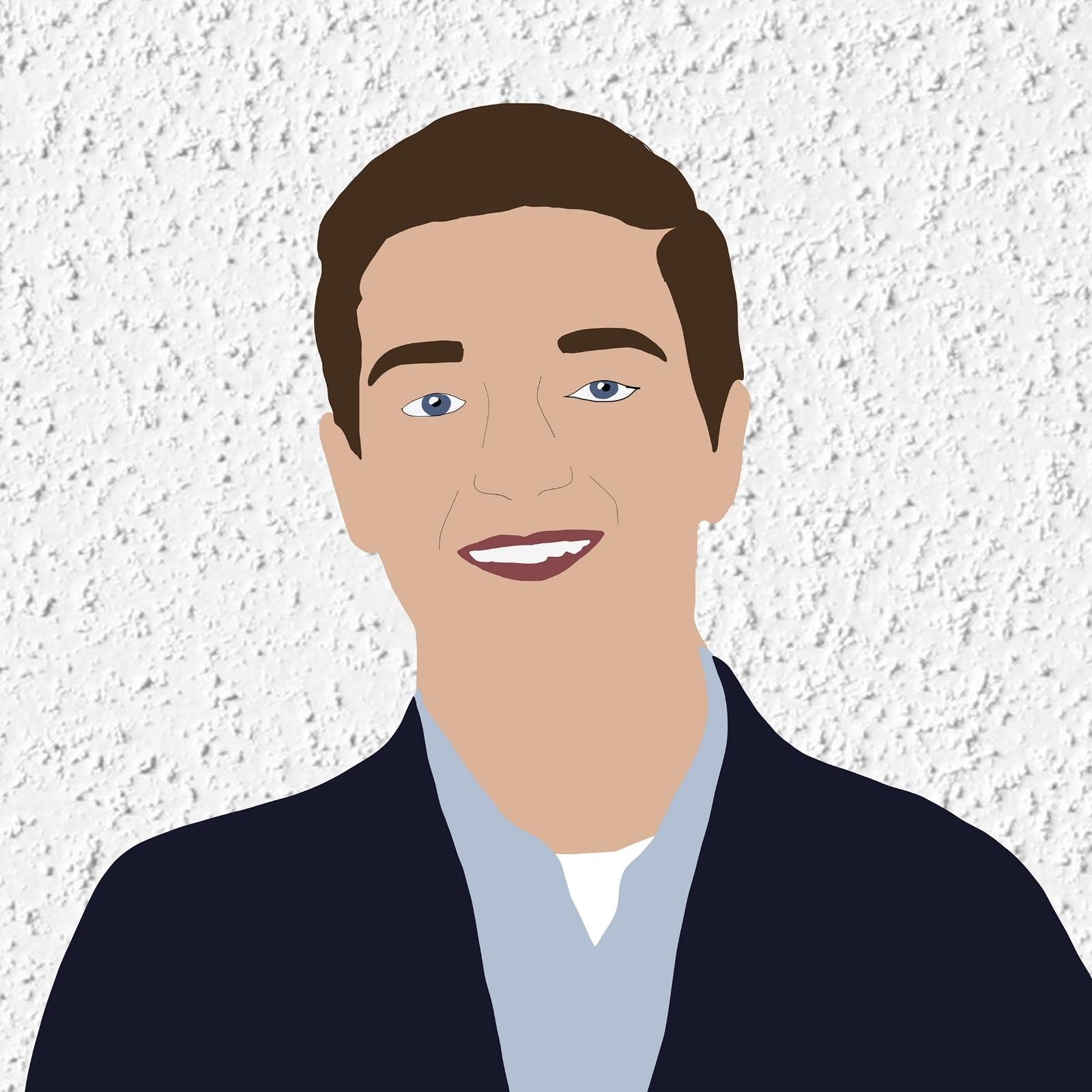 Digital illustration of Kyle smiling against a white stucco background.