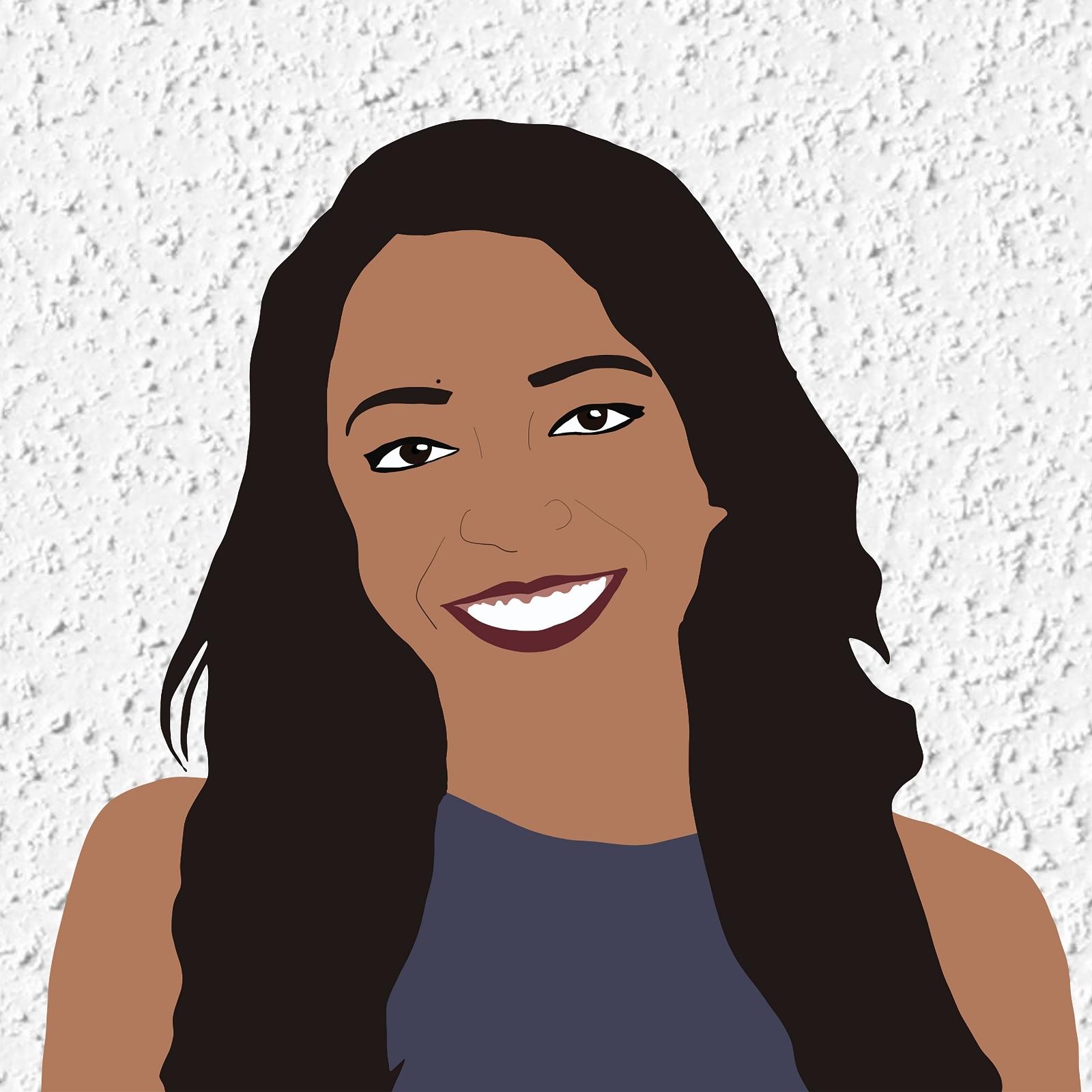Digital illustration of Alana smiling against a white stucco background.